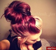 blonde bangs with burgundy hair