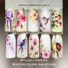 Wildflowers - полевые цветы курс росписи в акварельной технике, выполняется гель-лаками все нюансы и тонкости вы сможете узнать, посетив курс и отработав технику на практическом занятии