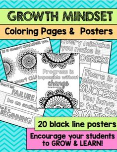 Growth Mindset Coloring Pages Social Emotional Learning, Social Skills, Beginning Of School, Middle School, High School, Growth Mindset Posters, Instructional Coaching, Classroom Community, Character Education