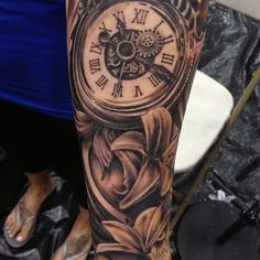 The best timepiece tattoo I have ever seen. By Pete Terranova.