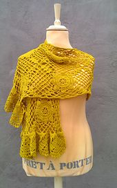This lovely scarf is crocheted in 100% cotton yarn…