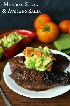 Mexican Steak {Tastes of Lizzy T} Each summer we find a new favorite grilling recipe, and this was it for the summer! LOVE this steak salsa. http://www.tastesoflizzyt.com/2013/08/22/mexican-steak-avocado-salsa/