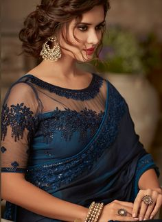 Buy Now Navy Blue Colour Beautiful Designer Party Wear Silk Saree. Netted Blouse Designs, Saree Blouse Neck Designs, Fancy Blouse Designs, Bridal Blouse Designs, Net Saree Blouse, Fancy Sarees Party Wear, Saree Designs Party Wear, Trendy Sarees, Stylish Sarees