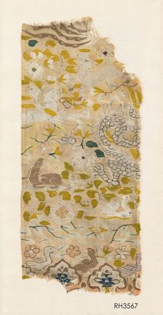 Textile Fragment. 7 x 16.5 in (18.5 x 42 cm). 12th/13th Century. Provenance Spink. Fragment of silk kesi, woven with a phoenix, dragon and seated deer, with birds and animals against a salmon pink flowered ground. Song Dynasty. Roger Hollander Chinese and Central Asian Textiles: Thomas Murray Asiatica - Ethnographica