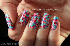 "Over lapping polka dot ""fish scales"" free hand nail art. Fish scale tutorial in the link"