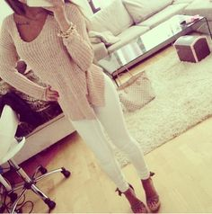 Big sweater + white skinny jeans + nude high heels + casual classy