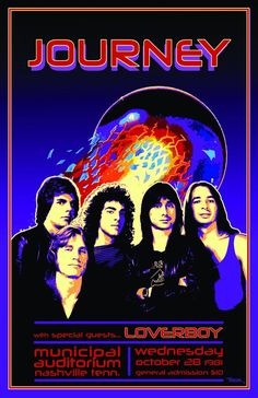 This is my rendition of a poster for a Journey concert in The times dates and places are real. The artwork is mine. Printed on premium glossy photo paper for deep blacks and vivid colors. Journey Albums, Journey Band, Journey Music, Journey Tour, Journey Concert, Classic Rock Bands, Classic Rock Albums, Pop Rock Bands, Metallica