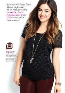 #LucyHale in mark's Dot Noir Blouse and jewelry coming this Fall to my Avon eStore! #markfall #fallfashion