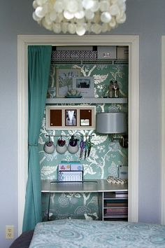 Home Office Ideas From Little Acorns - Liner Work - Decorative Painting for Do It Yourself Design Closet office for Small spaces Closet Desk, Closet Office, Home Office, Closet Space, Office Nook, Small Office, Closet Wall, Closet Storage, Closet Doors