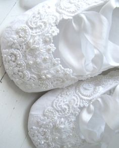 White embroidery baby slippers ❖Blanc❖❷ Vintage