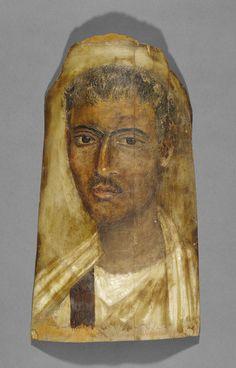 Mummy Portrait of a Man; Unknown; Egypt; 100 - 125; Encaustic on wood; 47.5 x 24.1 x 0.4 cm (18 11/16 x 9 1/2 x 3/16 in.); 71.AP.72