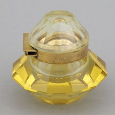 Art Deco gold faceted glass inkwell, 1930s