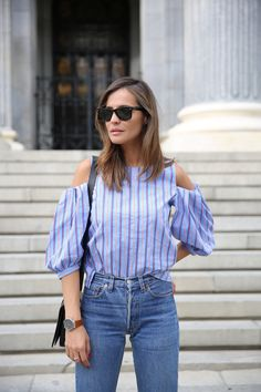 21 Genius Summer 2016 Outfit Ideas to Steal: A ShoppableGuide | 'Lady Addict' blogger wearing a pinstripe shoulder cutout top with high-waisted denim
