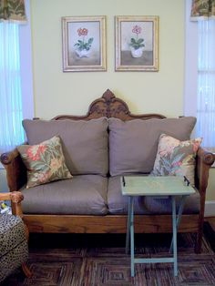 This beautiful love seat was made from an old Bed.  The headboard is the back the footboard was cut in have to make the sides - from Cottage Hill on Etsy