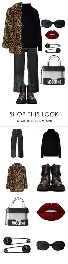 """""""Senza titolo #2242"""" by monsteryay ❤ liked on Polyvore featuring RE/DONE, New Look, Fendi, Moschino, Lime Crime and Yves Saint Laurent"""