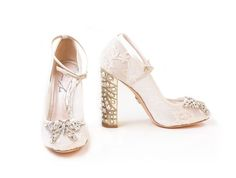 Displaying statement heels in a selection of styles, the Aruna Seth Pearls and Diamonds 2017 collection offers sensational bridal shoes Wedding Shoes Block Heel, Block Heels, Registry Office Wedding, Ellis Bridal, Blue Bridal Shoes, Butterfly Shoes, Something Blue Bridal, Shoe Image, Shoes 2017