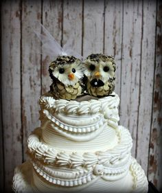 Owl cake topper, of course I will have one!! These are cute, probably can make them myself.