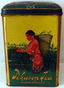 Pekason Tea Indian Flavours tea tin .. decorated with scene of Indian woman picking tea