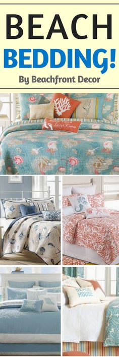 Beach Bedding Sets are absolutely beautiful! Discover the absolute best you can buy. We have a giant list of our ultimate guide to coastal and beach themed bedding sets. Beach Style Bedding, Beach Theme Bedding, Beach Bedding Sets, Coastal Bedding, Coastal Bedrooms, Beach Comforter, Nautical Bedding, Luxury Bedding, Beach Cottage Style