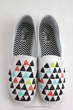 Stamped Fabric Painted Shoes