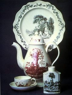 A selection of Liverpool overglaze printing on Wedgwood Queen's ware, c1770-80.