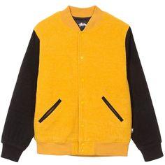 Jackson Varsity Jacket ($295) ❤ liked on Polyvore featuring outerwear, jackets, varsity bomber jacket, varsity-style bomber jacket, varsity style jacket, snap jacket and teddy jacket