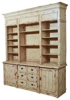 Solid Mahogany Apothecary Bookcase Cabinet - Weathered White traditional bookcases cabinets and computer armoires Mahogany Cabinets, Computer Armoire, Contemporary Bookcase, Contemporary Furniture, Apothecary Cabinet, Decoration Inspiration, Primitive Furniture, Antique Furniture, Home Kitchens