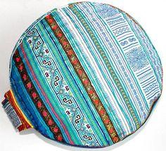 Embroidered Blue Meditation Cushion with handle Yoga ZAFU  & POUF ORIGINAL by Bonjourtristeza