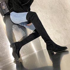Cizme din piele naturala (stretch suede) cu toc comod de 4.5cm. Knee Boots, Shoes, Fashion, Moda, Zapatos, Shoes Outlet, Fashion Styles, Knee Boot, Shoe