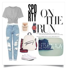 """Sporty 🏃🏻‍♀️👟"" by timelessfashionmaker ❤ liked on Polyvore featuring Tommy Hilfiger, T By Alexander Wang, Topshop, Converse, Narciso Rodriguez, Red Fleece By Brooks Brothers, casual, jeans and sporty"