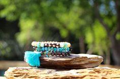 Stack Bracelet Set Boho Beach Chic Bracelets by HappyGoLuckyJewels