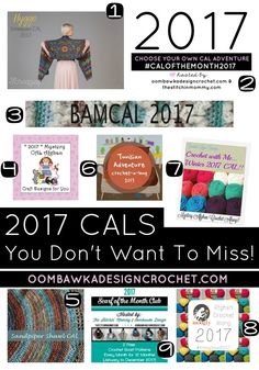 2017 CALS You Don't Want To Miss! http://oombawkadesigncrochet.com/2017/01/2017-cals-you-dont-want-to-miss.html