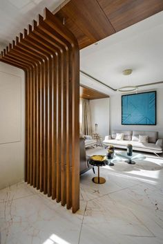 45 Brilliant Partition Wall Design Ideas To Blow You Away - Engineering Discoveries Wooden Partition Design, Wooden Wall Design, Wooden Partitions, Living Room Partition Design, Room Partition Designs, Ceiling Design Living Room, Home Room Design, Home Interior Design, Living Room Designs