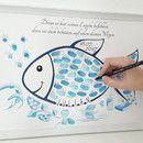 Der **Fingerabdruck Fisch zur Taufe** ist eine originelle Alternative zum Gästebuch für die **Taufe**. Jeder Gast hinterlässt seinen farbigen Fingerabdruck und Unterschrift im Tauffisch oder als...