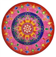 Colorful Sticker Rangoli Print on Glazed Paper (Ritual Print on Sticker for Wall or Floor Decoration)