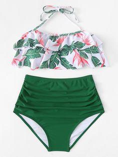 Jungle Print Halter Ruffle Top With High Waist Bikini -SheIn(Sheinside) - fashion - Mode Du Bikini, Haut Bikini, The Bikini, Floral Bikini, High Waist Bikini, Flounce Bikini, Bikini Girls, Bathing Suits For Teens, Cute Bathing Suits