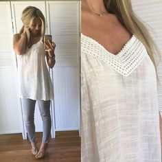 """✨Boho Chic White Sleeveless Top ▪️Item Description: soft and flowy and lays beautifully. Love the delicate crinkle material, has a feminine feel... Semi sheer and I am wearing a cute lace bralette under. So pretty for the beach, errands day or cute jeans and heels! Price Firm.   ▪️Modeling: Medium  ▪️Available Sizes: Medium & Large  ▪️Material: 61 Rayon, 39 Poly  ▪️Measurements: (Medium) 18.5"""" across chest and 29"""" long Tops Tank Tops"""