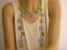 crochet necklace lariat lilac flower leaves by PashaBodrum on Etsy
