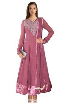 Buy Old Rose Faux Georgette Readymade Abaya Style Churidar Kameez online, work: Embroidered, color: Rose, usage: Party, category: Salwar Kameez, fabric: Georgette, price: $314.00, item code: KUB239, gender: women, brand: Utsav