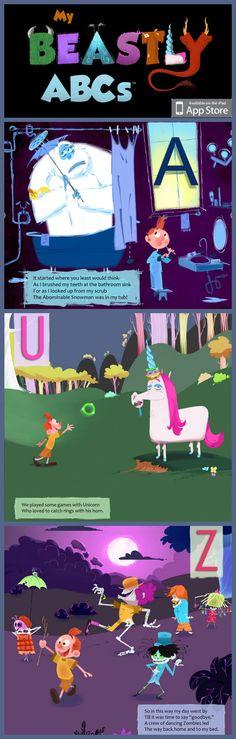 we love this imaginative, interactive alphabet ipad storybook app - My Beastly ABCs! $2.99