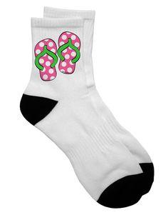 TooLoud Cute Polka Dot Flip Flops - Pink and Green Adult Short Socks