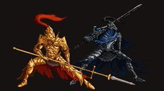 Dark Souls Two of my favorite bosses, Dragonslayer Ornstein and Knight Artorias the Abyss Walker