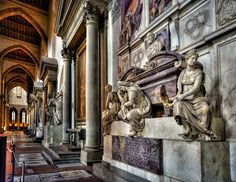 Tombe of Michelangelo at the Basilica di Santa Croce, Florence.