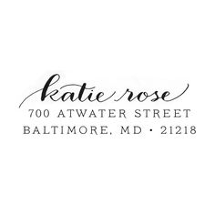 CUSTOM CALLIGRAPHY rubber address stamp- 'Katie elongated' font. $35.00, via Etsy.