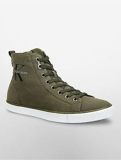 bba12875e22 Calvin Klein Mens High-Top Canvas Logo Sneaker Shoe New Sneakers