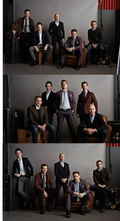 Robert Downey Jr, Michael Keaton, Eddie Redmayne, Steve Carrel and Benedict Cumberbatch Group Photography, Portrait Photography, Family Portraits, Family Photos, Group Photo Poses, Michael Keaton, Photo Grouping, Business Portrait, Downey Junior
