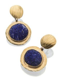 Azurite crystal earrings.  Open on the back so you can see the star-shaped geode opening. http://sydneylynch.com/onekind.html