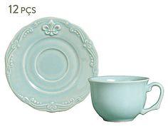 Conjunto de xícaras para chá com pires flor de lis - moment