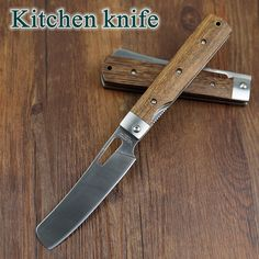 Herbertz Rostfrei 440A Pocket Folding Kitchen Chef Knife Table Knife High Quality Dark Tagayasan Wood Steel Guard Good For Camping Outdoor Cooking