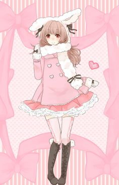 Anime girl, pink, kawaii, cute.